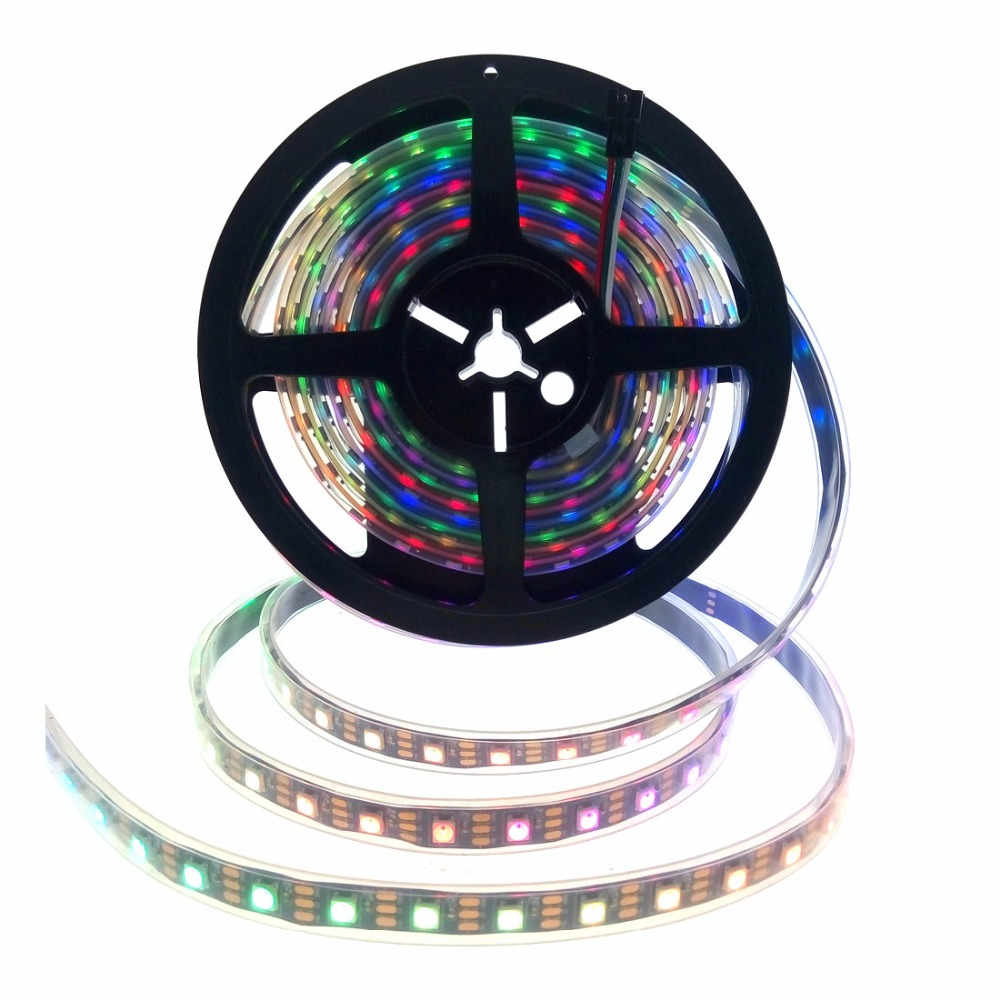 WS2812B RGB LED Strip Light Dream Color Changeable Smart Pixel SMD 5050 DC5V Black/White PCB 30/60/144 LEDs/m IP65/67 Waterproof
