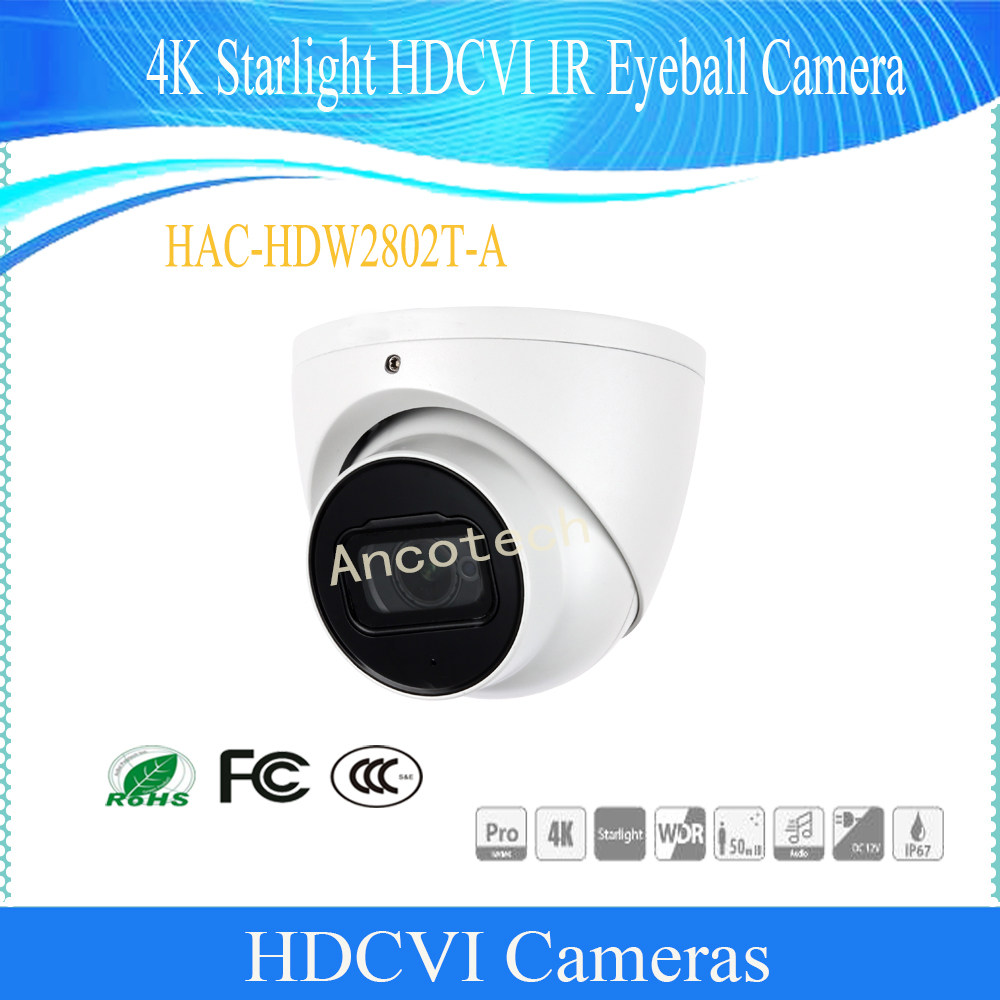 Free Shipping Security Camera CCTV 4K Starlight WDR HDCVI IR Eyeball Camera IP67 Without Logo HAC-HDW2802T-A free shipping dahua 2mp 1080p water proof wdr hdcvi ir bullet camera without logo hac hfw2221d