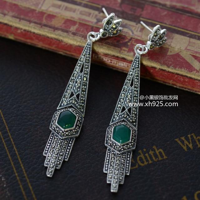 Black Silver 925 Silver Marcasite Black Onyx double Earrings xh018983