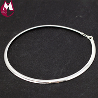 100 Real 925 Sterling Silver Torques Necklace Gift For Women Girl Handmade 16 18 Inch Simple