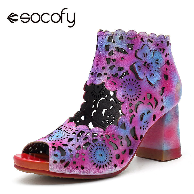 где купить Socofy Colorful Hollow-out Flower Ankle Sandals Women Shoes Genuine Leather Zipper Peep Toe Chunky Heels Retro Summer Shoes New дешево