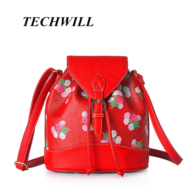 63bf263511 New Spring Travel Bag Embroidery flower Prints Girl s Red PU Leather  Women s Shoulder Satchels Backpack Book Bags
