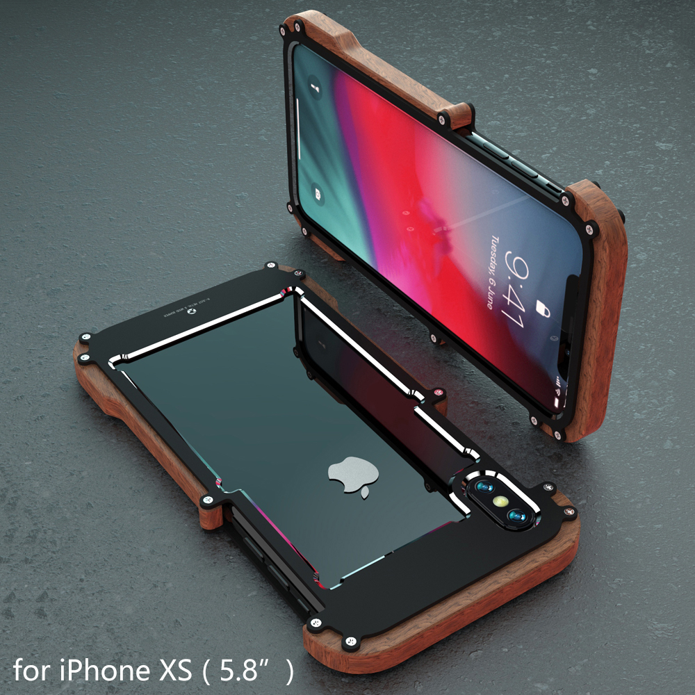 R-just For iPhone XS MAX Cover Case Luxury Hard Wood Metal Aluminum Alloy Armor Shockproof Phone Case for iPhone X XR Back Cover