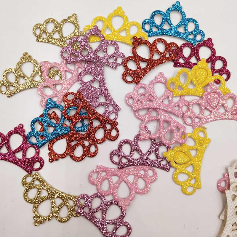 80 Uds 3*2cm color de la mezcla lentejuela brillante corona acolchado parches apliques para coser ropa suministros DIY pelo arco Decoración