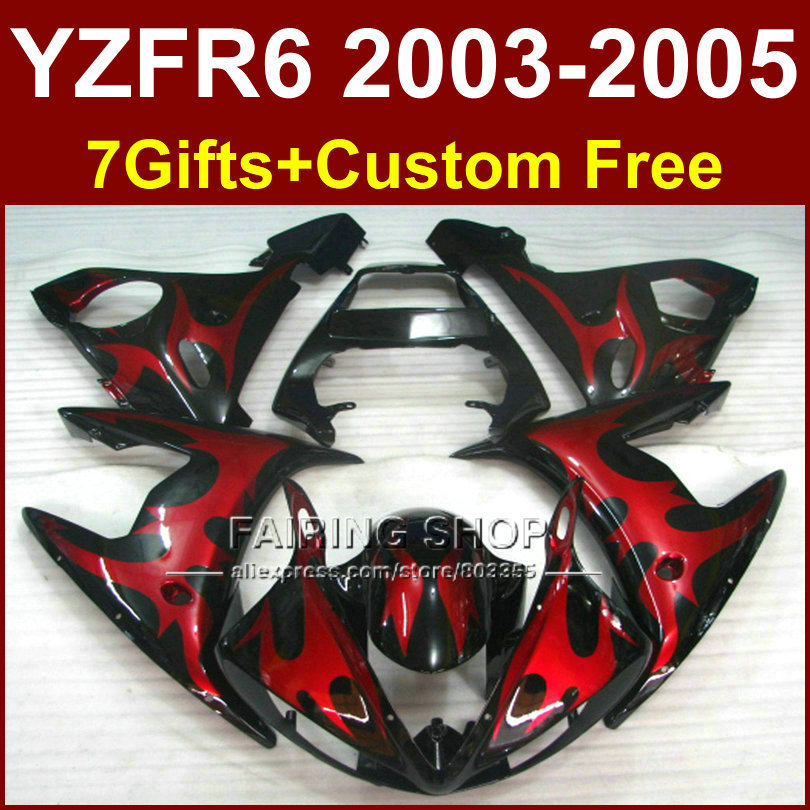 GHE body repair parts for YAMAHA R6 Motorcycle red black fairings sets 03 04 05 YZF R6 2003 2004 2005 fairing kit PH6F hot sales yzf600 r6 08 14 set for yamaha r6 fairing kit 2008 2014 red and white bodywork fairings injection molding
