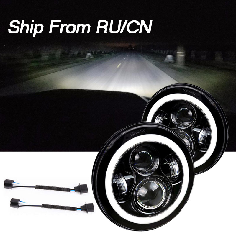 """2 pièces 7 """"LED ronde H4 H13 phare W/DRL projecteur phare Halo ange yeux clignotant pour Jeep JK Lada 4x4 urbain Niva Hummer"""