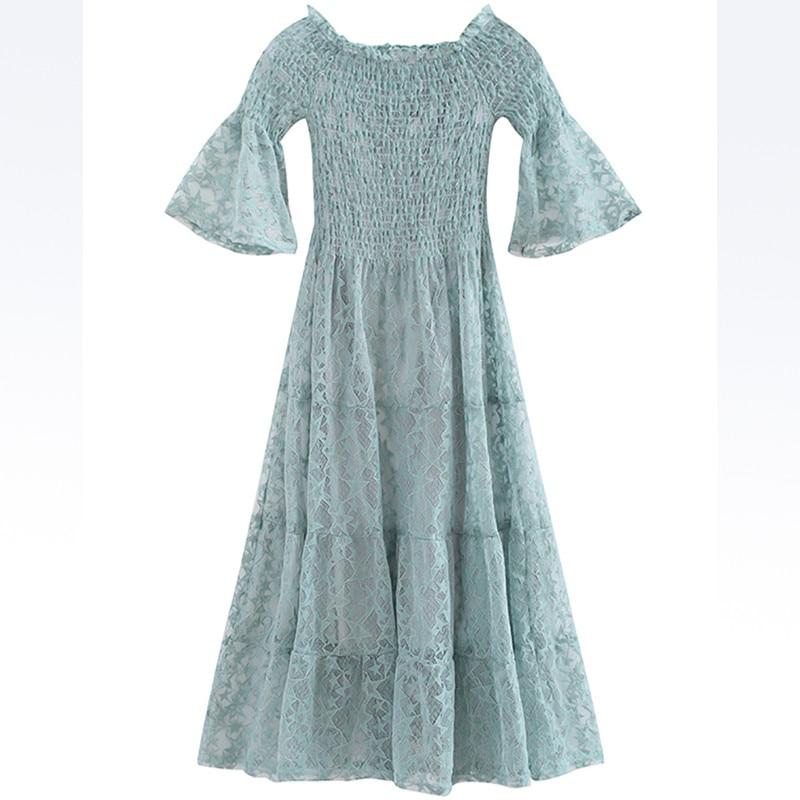 Robes A ligne Zl058 Apricot Vintage blue D'été Mode Coréen De black L'épaule Dentelle 2018 Noire Doux pink green Élégante Chaude Robe Dames qAw7xz