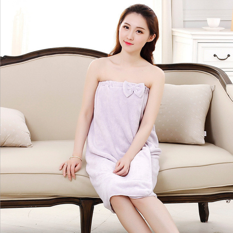 Hot sale 100% micron spun yarn fabric Bath Robe Water absorption Bathroom skirt Spa Beauty salon gym Bathrobe Gift