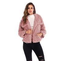 European and American women's fashion lapel new winter fashion wild furry coat warm coat solid color AL181123
