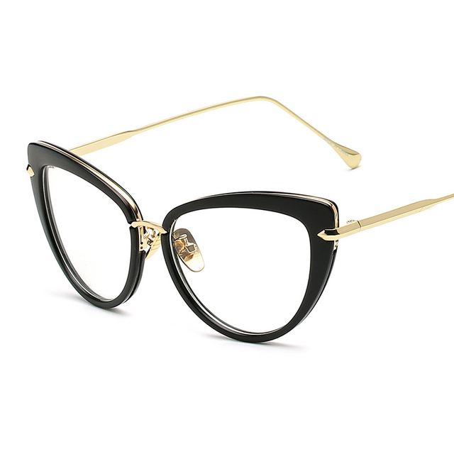 e0896fa6228 Vazrobe Vintage Cat Eye Glasses Women Fashion Clear Lens Eyeglasses Woman  Retro Decoration Eyeglass Frames Plain Lens Spectacles