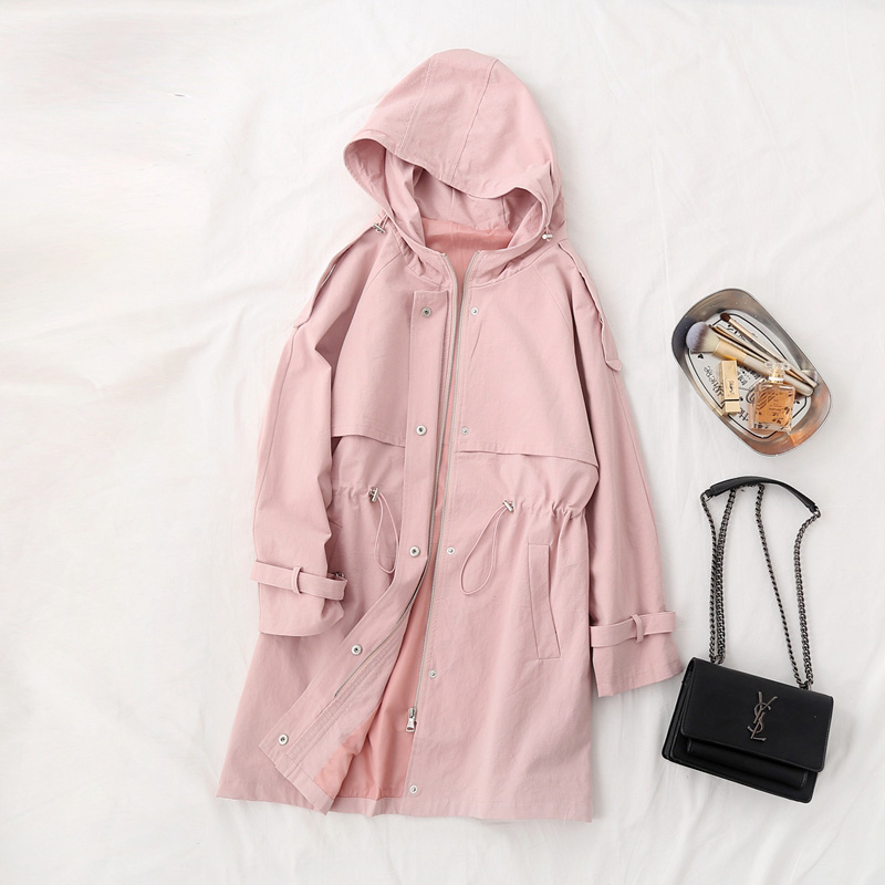 2019 Women Autumn   Trench   Coat Hooded Pure Cotton Material Women Long Coat Casaco Feminino Pink Color Tops For Women Outerwear