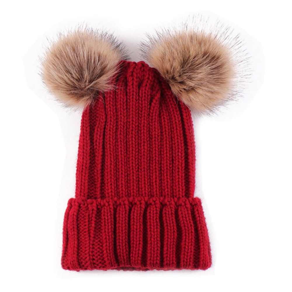 ファッション冬暖かいチャンキーニットビーニーハット女性のダブル毛皮ポンポンビーニーキャップフェイクファーの帽子の少女ウールへまボンネット Gorros