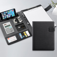 Harphia A4 Manager Conference Document Organizer Linen PU File Folder Magnetic Snap Switch with Elastic Belt and Stand for Phone