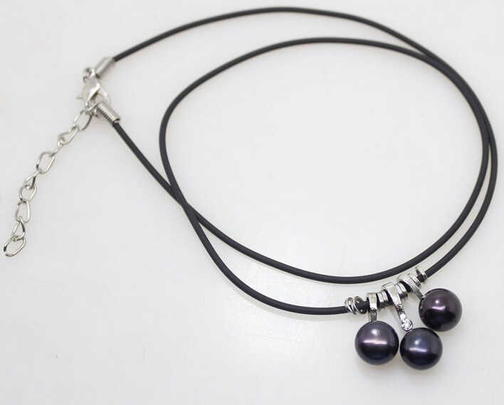 Jew2408 9-10mm White Black Mix Color Freshwater Pearl Leather Pendant Necklace 17.5''