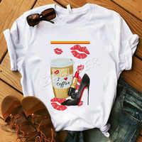 Summer Shirt Lady Vogue I Love Coffee High Heel Kiss T Shirt Women Cotton O-Neck Casual T-shirt Friday Tops Holiday Gift