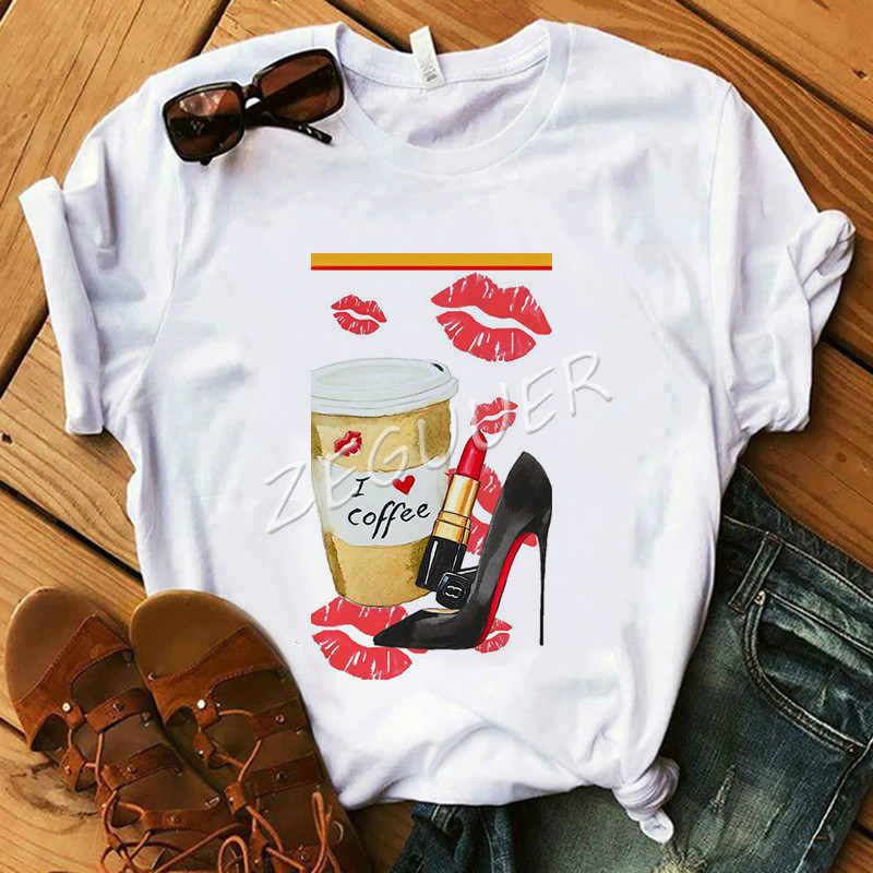Summer <font><b>Shirt</b></font> Lady Vogue I Love Coffee High Heel Kiss T <font><b>Shirt</b></font> <font><b>Women</b></font> <font><b>Cotton</b></font> O-Neck Casual T-<font><b>shirt</b></font> Friday Tops Holiday Gift image