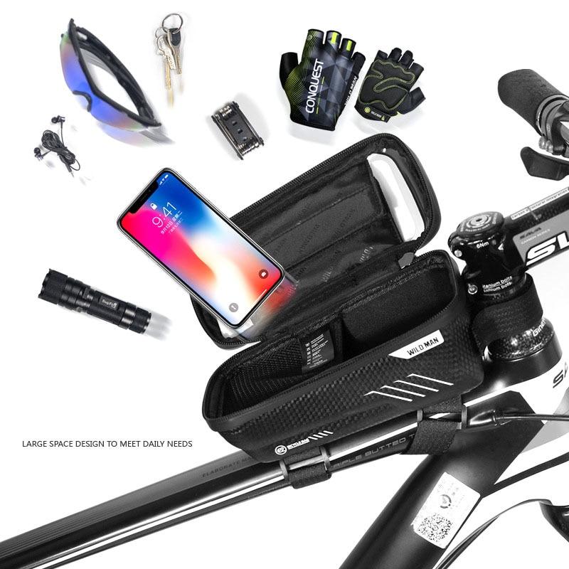 WILD MAN Mountain Bike Bag Rainproof Waterproof Mtb Front Bag 6.2inch Mobile Phone Case Bicycle Top Tube Bag Cycling Accessories 6