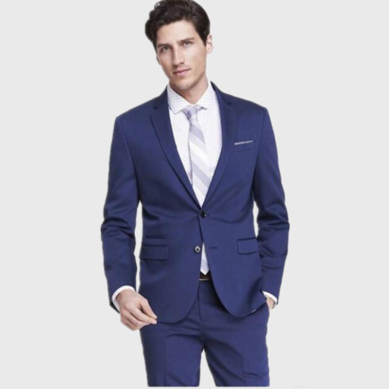 151 Custom Made Terno Para Casamento Custom Made Slim Fit Blue Men Suit Tuexdos Formal Party Prom Suit (Jacket+Pants)