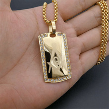 Men's Masonic Dog Tag Pendant Necklace with CZ Men Jewelry Stainless Steel Freemason Gold Tone Hip Hop Accessories