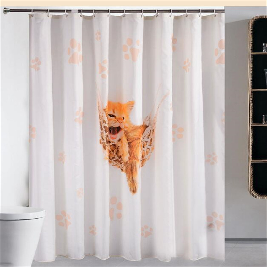 cartoon cat shower curtain waterproof fabric shower curtain cloth crown alphabet tower bath curtains with hooks