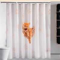Cartoon Cat Shower Curtain Waterproof Fabric Shower Curtain Cloth Crown Alphabet Tower Bath Curtains With Hooks