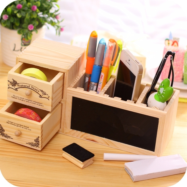 Wooden Pen Holder With Blackboard Cute Desktop Pencil Kawaii Desk Tidy Organizer Pot Creative