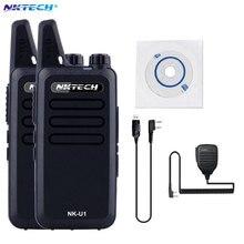 2 PCS Mini Talkie Walkie NKTECH NK-U1 400-470 MHz 5 W 16 Canaux De Poche Jambon Émetteur-Récepteur Deux-way Radio + Câble + mic