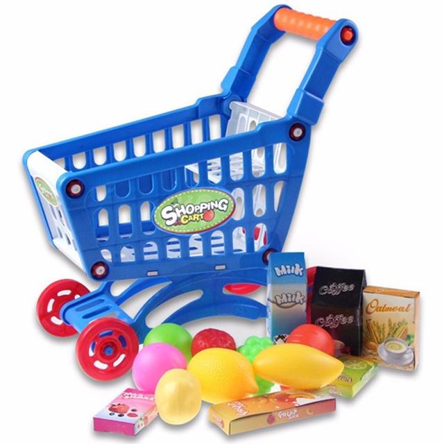 Lindo Mini Niños Prentend Supermercado Carrito de la compra Con Lleno de Comestibles de Alimentos Juguete Divertido Para Los Niños Los Niños Juegos De Cocina Juguetes