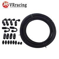 VR RACING AN6 Black Nylon Racing Hose Fuel Oil Line + Fitting Hose End Adaptor KIT VR7312+SL10AN6 BK