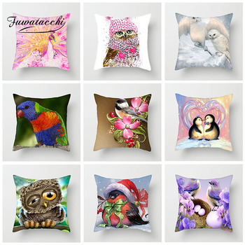 Fuwatacchi Cartoon Animal Cushion Cover Cute Bird Owl Penguin Pillows Cover Decoration For Car Home Sofa Pillowcase 45cm*45cm fuwatacchi home decor cartoon cushion cover cute stick figure couple image pillow cover for car sofa pillowcase 45cm 45cm