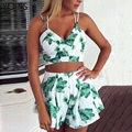 YOINS 2016 Summer Style Floral Print Women Suit Sexy Deep V-neck Zip Back Bralet & Pleated Hem Skort Co-ord Causal Beach Sets