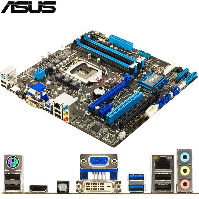 original Used Desktop motherboard For ASUS P8H77-M H77 Support LGA 1155 Maximum DDR3 16GB 2*SATAIII 4*SATAII uATX asus p8h61 m pro desktop motherboard h61 socket lga 1155 i3 i5 i7 ddr3 16g uatx uefi bios original used mainboard on sale