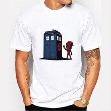 2016 neuesten männer Lustige Deadpool Drucken T-shirt Fashion Kurzarm T-shirt Doctor Who Design Grund Oben