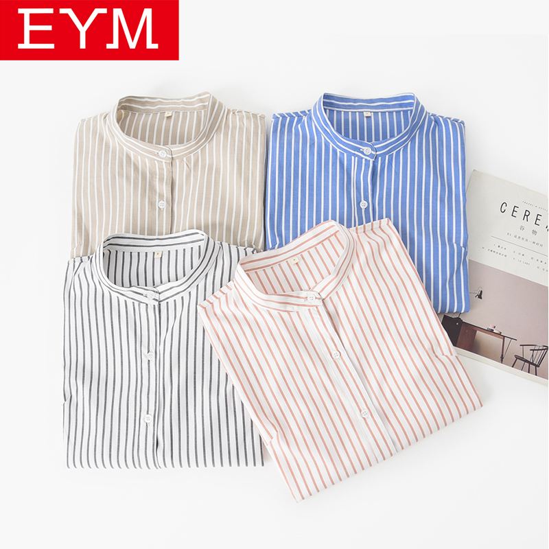 EYM Brand 2019 New Women Blouses Simple Casual Striped Stand Long Sleeve Shirts Female Plus Size Blouse Tops Blusas Feminina 3XL