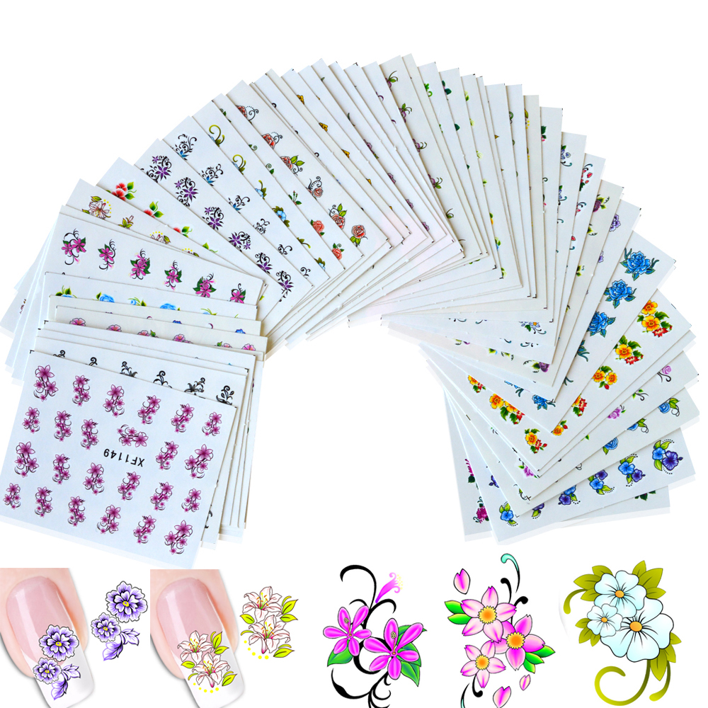 50Sheets Water Transfer Decals Nail Art Sticker NEW Mixed 50designs Blossom Flower Nails Tips Manicure Tools XF1101-1150