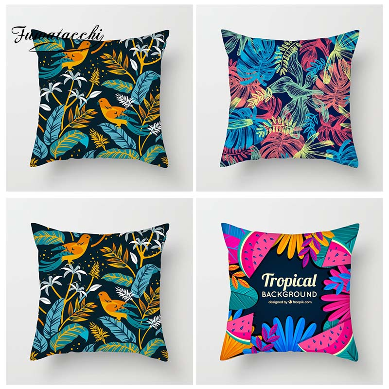 Fuwatacchi Fantastic Colors Tropical Plant Cushion Cover Palm Leaves Throw Pillow Covers Green Tropical Trees Pillowcases in Cushion Cover from Home Garden