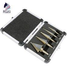 Пегаси высокое качество 5 шт. 50 размеров HSS Кобальт несколько отверстий шаг конус сверла набор инструментов сверла с Алюминиевый Чехол