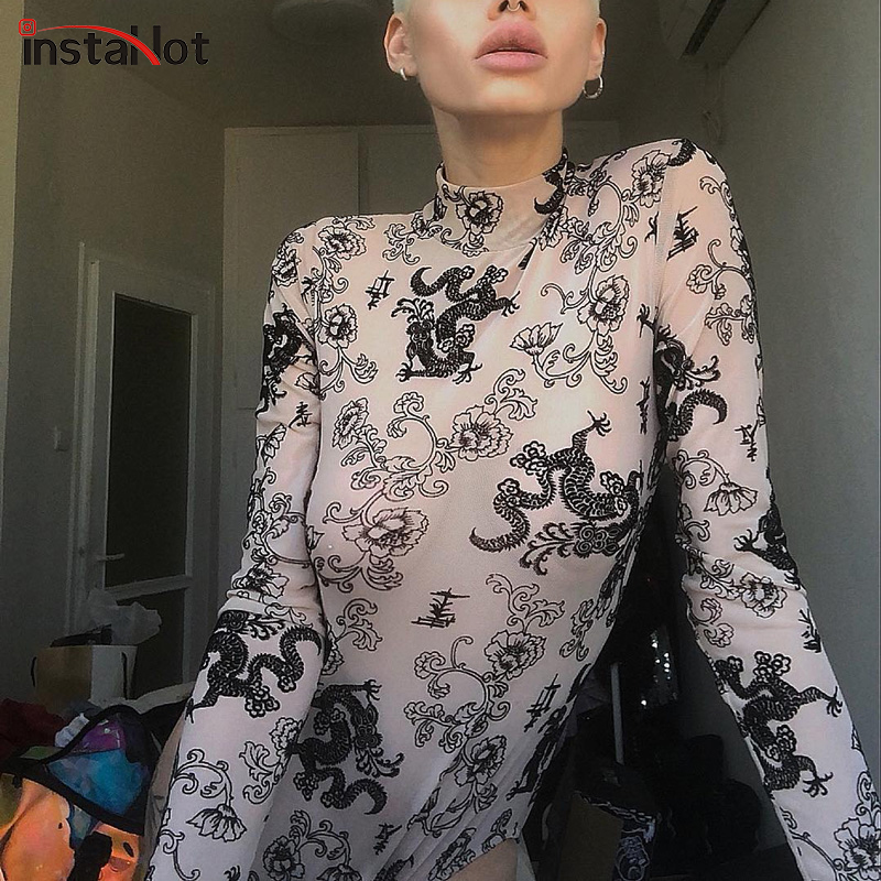 InstaHot Dragon Print Long Sleeve Bodysuits Women Transparent Mock Neck Stretchy Playsuits See Through Elastic Tops 2018 Autumn