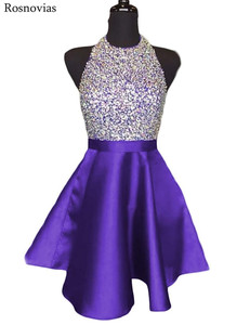 Image 3 - Luxury Short Graduation Dresses 2020 Halter Backless Prom Party Gowns Vestidos Mini Crystal Homecoming Dresses Customized
