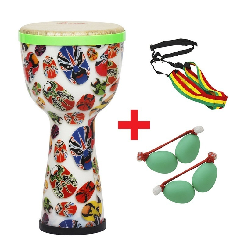 цены SLADE 8 inch Multicolor African Hand Drum Tambourine with Sand Egg + Shoulder Cross Strap Professional Percussion Instrument