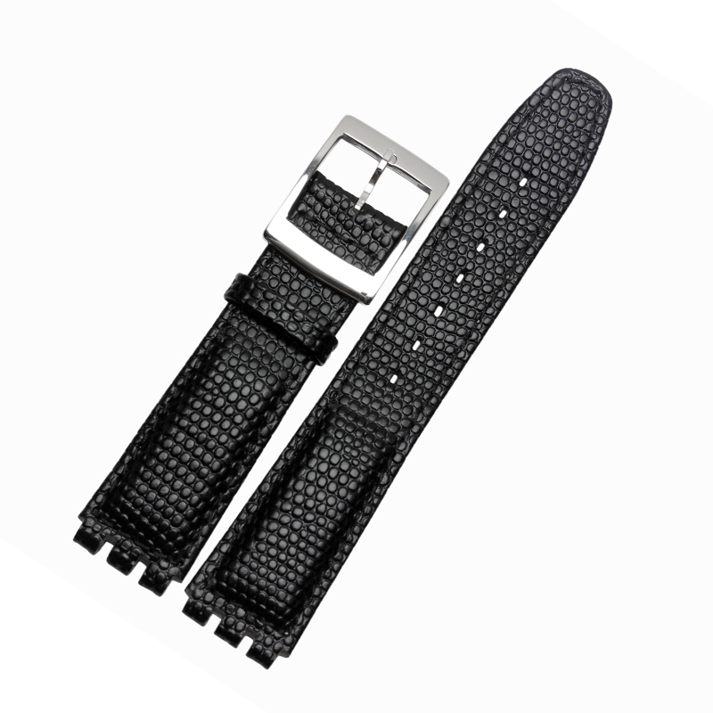 High Quality Waterproof Genuine Leather Watch Band 17mm Croco Pattern Black Brown White Strap For Swatch все цены