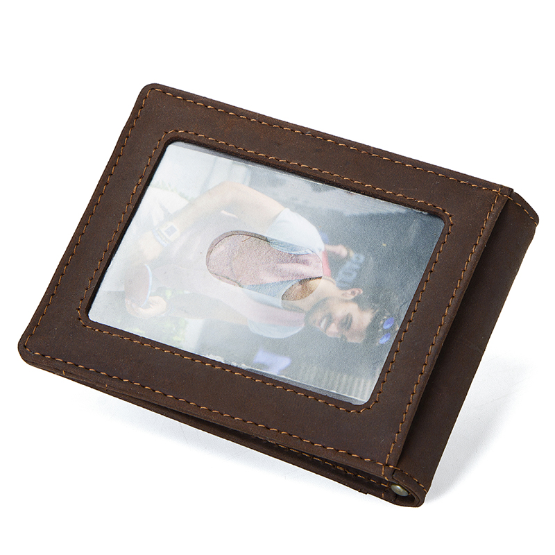 CONTACT'S Crazy Horse men RFID Genuine Leather Money Clip Card Wallet Thin Bifold cash clamp casual cash holder man coin purse 1