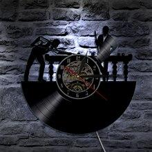 1 pieza de billar, reproductor de mesa de billar, vinilo Led de pared, iluminación de Color cambiante Vintage LP, decoración de grabación hecha a mano, decoración de luz LED