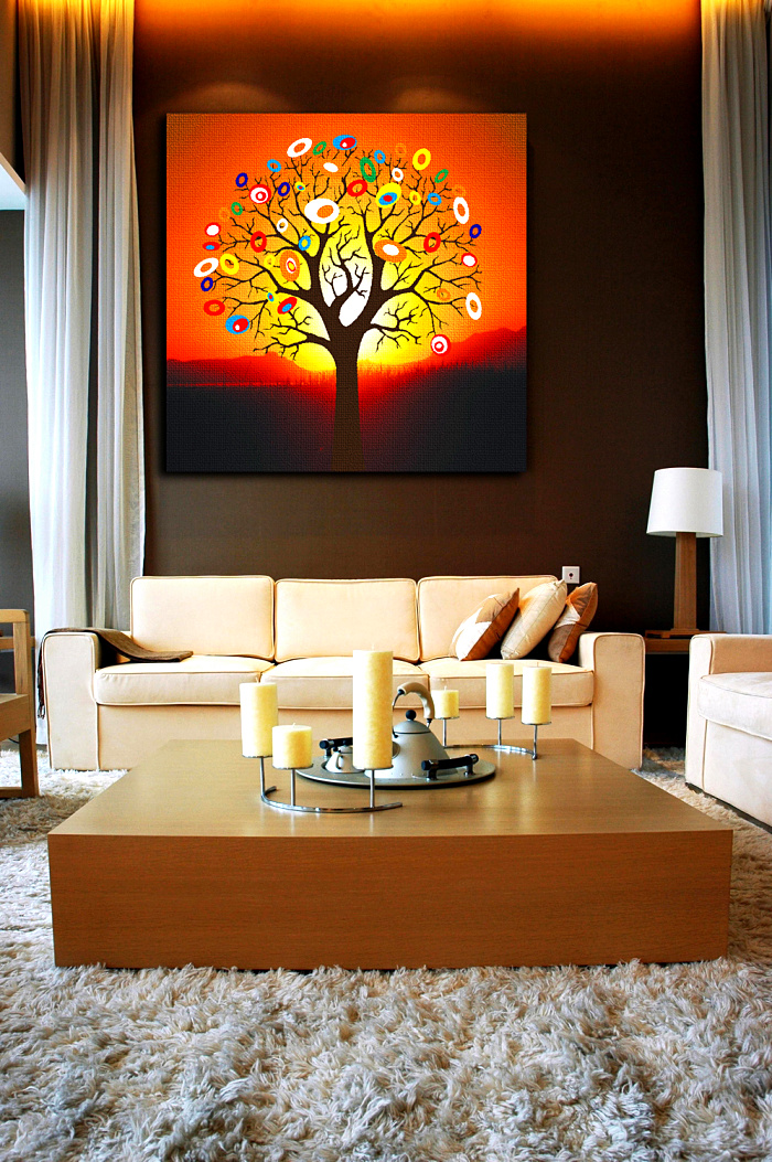 Good Luck !!!Modern Wall Adronment Money Tree Canvas Painting Orange Decorative Picture for Living Room Bedroom