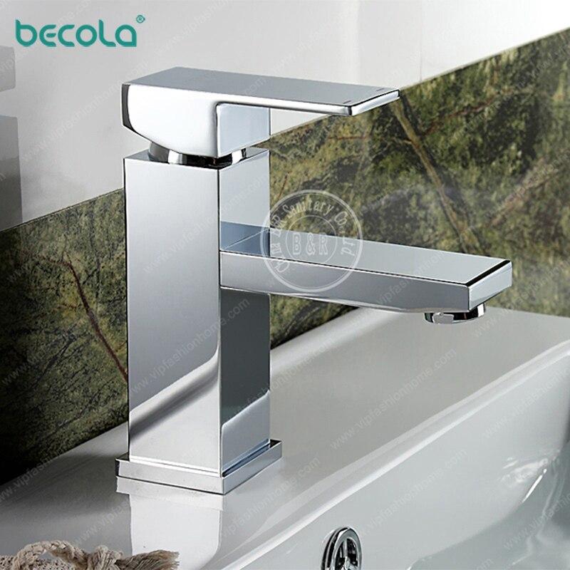 BECOLA Square classic bathroom faucet Chrome bath basin faucet Single hole single hole brass faucet