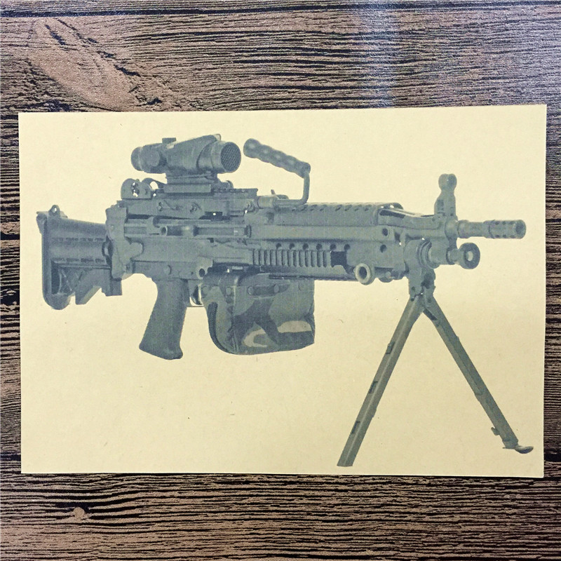 Rzg 072 Home Decor Poster Kraft Paper Camouflage Machine Gun Painting For Wall