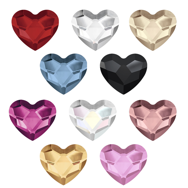 9a2c83657331 ( Pick your colors ) Swarovski Elements Heart (2808) ( No - Hotfix ) ( 6mm