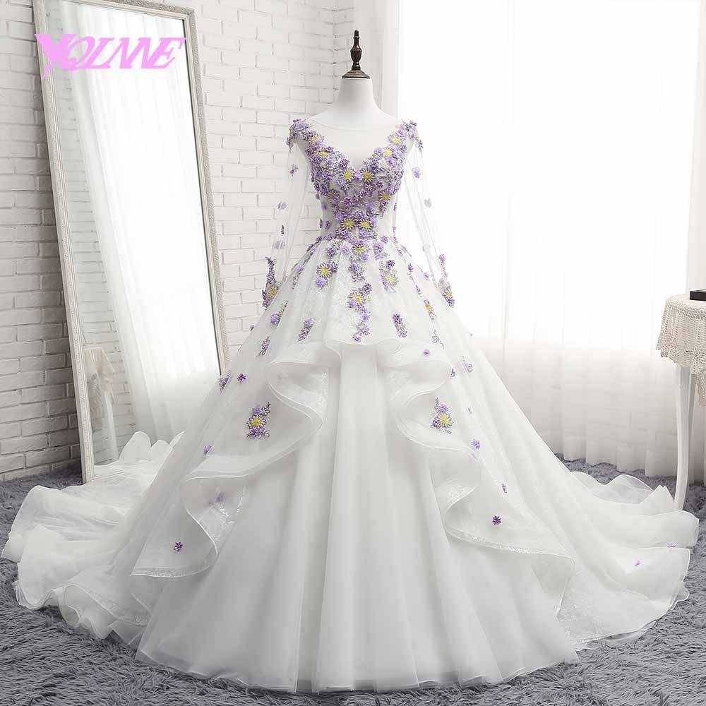 YQLNNE debutante ball gown quinceanera dresses log sleeve flowers Beading sweet 16 dress vestidos de 15 with free petticoat