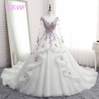 YQLNNE debutante ball gown quinceanera dresses log sleeve flowers Beading sweet 16 dress vestidos de 15 with free petticoat