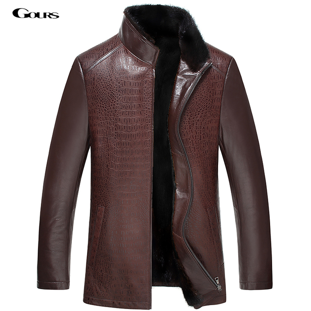 Gours Winter Mens Genuine Leather Jackets Brand Clothing Sheepskin Golden Mink Jacket and Coat 2016 New Arrival Plus Size 4XL